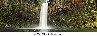 Pacific Northwest waterfall panoramic