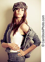 sensitive - Shot of an attractive fashionable girl posing in...