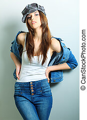 lady in hat - Shot of an attractive fashionable girl posing...