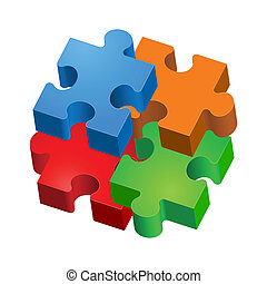 Puzzle - Colorful puzzles The form of the third Illustration...