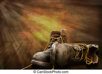 Working Mans Boots End of Day - Illustration of working mans...