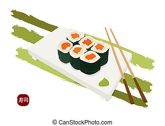 shushi maki plate , sticks and wasabi