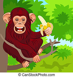 vector happy monkey chimp in the jungle with banana - red...