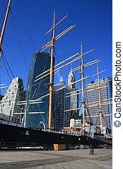 New York - Boat at the South Street Seaport near the...