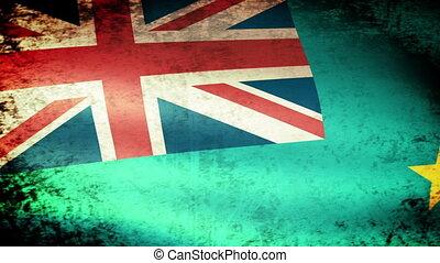 Tuvalu Flag Waving, grunge look