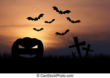 Halloween night with sunset background