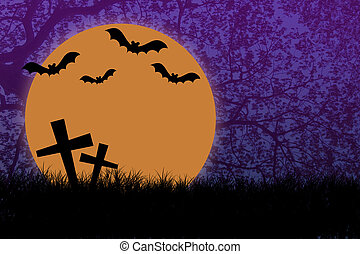 Halloween night with silhouette branch tree background