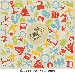 Vector summer pattern background with the sun and summer...
