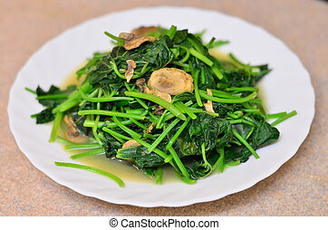 Chinese bok choy dish on the table