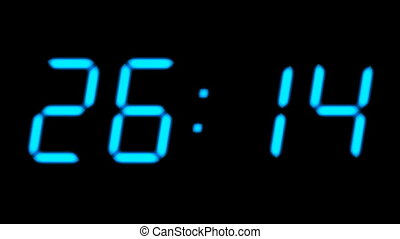 Digital countdown timer in blue color over black background