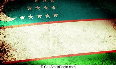 Uzbekistan Flag Waving, grunge look