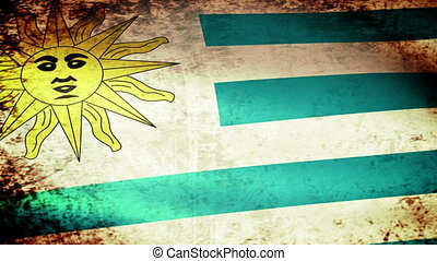 Uruguay Flag Waving, grunge look