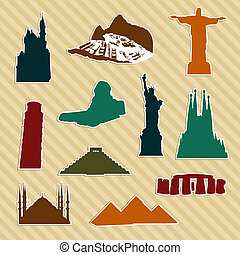 World landmark silhouettes - World landmark sticker...