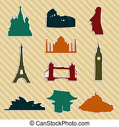 World landmark silhouettes set Vector file layered for easy...