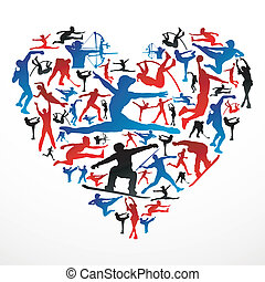 Sports silhouettes heart - Action sports silhouettes in...
