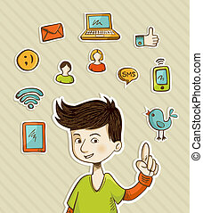 Go social teenager shows netwoks icons