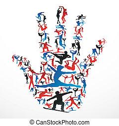 スポーツ, シルエット, 手