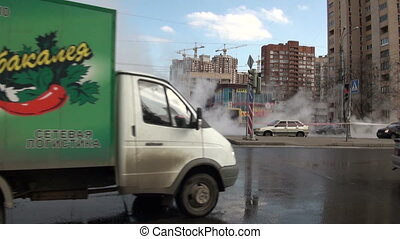 The accident, spill the hot water in the city
