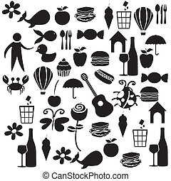 Set black color icons isolated on white background, vector...