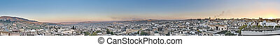Sunset time at Fez, Morocco - Sunset time at Fez skyline,...