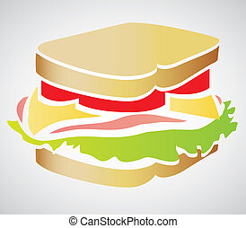 Illustration of a sandwich isolated on white background,...
