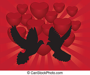 doves - vector doves on red heart background