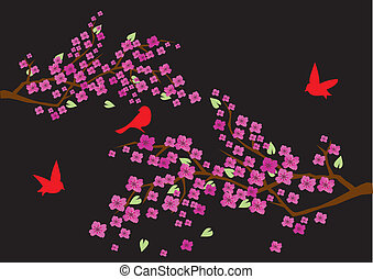 plum blossom - vector plum blossom with birds