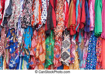 mercado, venda, coloridos, roupas