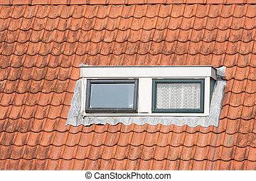 Typical Dutch roof with dormer and squared windows - Typical...