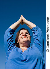 Plus Sized Fitness- Yoga - Beautiful plus-sized woman doing...