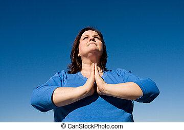 orando, Ao ar livre
