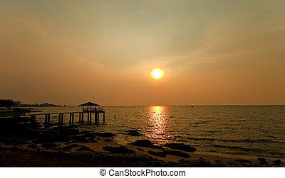 Sunset in Bang Saen,at Chonburi  Thailand