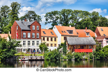 Old part of the market town Nyborg - Denmark. Idyllic homes...