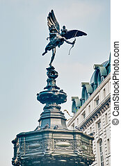 Piccadilly Circus at London, England - Eros Statue on...