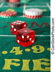 Craps Table - Craps table with casino chips and dice