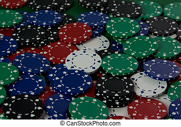 Pile of Poker Chips - Abstract background of poker chips in...
