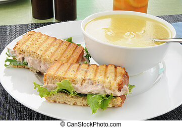 Soup and sandwich - A grilled tuna sandwich and chicken...