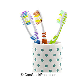 Tooth Brushes in holder on white background