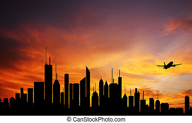 Conceptual photo of city downtown at sunrisesunset with...