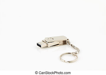 Silver usb flash storage drive - Usb flash storage drive on...