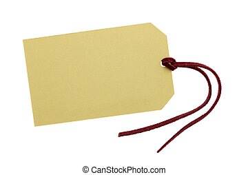 Blank tag with leather string on white background