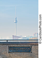 The Oberbaumbrucke bridge at Berlin, Germany - The...