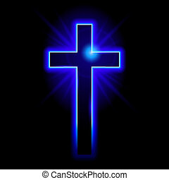 Christian symbol of the crucifix - Blue Christian symbol of...
