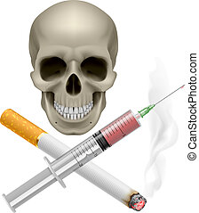 Realistic skull with a cigarette and syringe