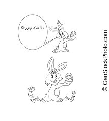 happy Easter bunny carrying egg - Illustration doodle of...