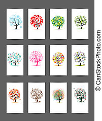 12 cards with trees design Season holiday