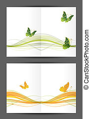Abstract postcard with butterflies, cover and inside page. Design for your print
