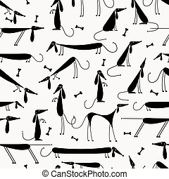 Funny black dogs, seamless background for your design