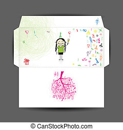 Design of envelope Happy birthday
