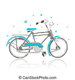 Sketch of old bicycle for your design